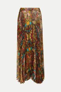 Alice + Olivia - Katz Pleated Floral-print Metallic Silk-blend Maxi Skirt - US6
