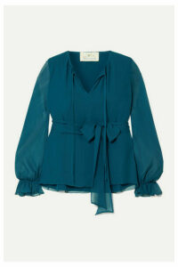 ARoss Girl x Soler - Amanda Belted Silk And Silk-chiffon Blouse - Blue