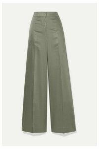 Theory - Twill Wide-leg Pants - Gray green