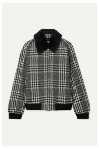 Max Mara - Faux Fur-trimmed Houndstooth Wool-tweed Bomber Jacket - Black