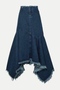 Marques' Almeida - Asymmetric Frayed Denim Skirt - Mid denim