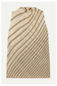Missoni - Draped Striped Metallic Crochet-knit Top - Ivory
