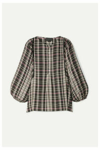 HATCH - The Rose Velvet-trimmed Checked Woven Blouse - Black