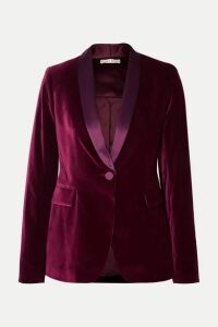 Alice + Olivia - Macey Satin-trimmed Velvet Blazer - Purple