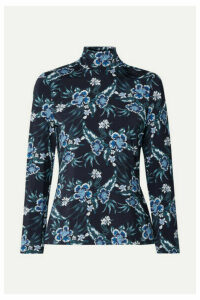 Altuzarra - Knight Floral-print Stretch-jersey Turtleneck Top - Blue