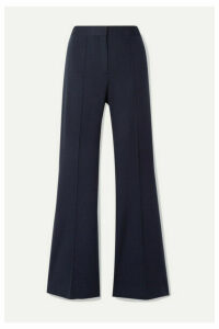 Victoria, Victoria Beckham - Pleated Jersey Flared Pants - Midnight blue