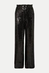 Alice + Olivia - Elba Sequined Crepe Wide-leg Pants - Black