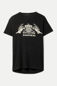 R13 - Bearhead Crest Boy Oversized Printed Cotton-blend Jersey T-shirt - Charcoal