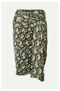 Altuzarra - Ruched Draped Paisley-print Stretch-jersey Skirt - Black