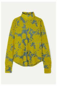 Jil Sander - Floral Stretch-jacquard Turtleneck Top - Yellow
