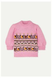 GANNI - Intarsia Wool And Alpaca-blend Sweater - Pink
