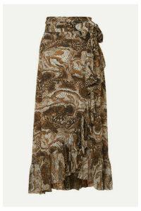 GANNI - Ruffled Printed Stretch-mesh Wrap Skirt - Brown