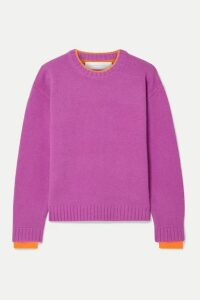 Victoria, Victoria Beckham - Stretch Jersey-trimmed Wool Sweater - Magenta