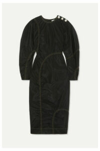 GANNI - Crystal-embellished Ruched Poplin Midi Dress - Black