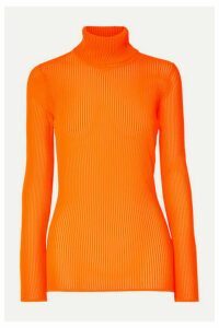Victoria, Victoria Beckham - Neon Ribbed Stretch-knit Turtleneck Top - Bright orange