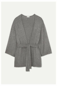 LESET - Lori Belted Brushed Stretch-knit Cardigan - Gray