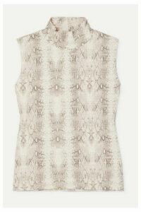 LESET - Sophia Snake-print Ribbed Stretch-modal Turtleneck Top - Gray