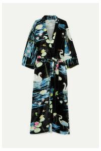 BERNADETTE - Peignoir Printed Velvet Wrap Dress - Black