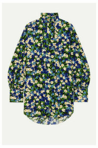 Rokh - Pussy-bow Floral-print Silk-crepe Blouse - Green