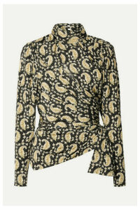 Altuzarra - Cutout Ruched Paisley-print Stretch-jersey Turtleneck Top - Black