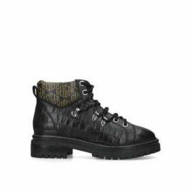 Kurt Geiger London Regency - Black Croc Print Monogram Hiker Boots