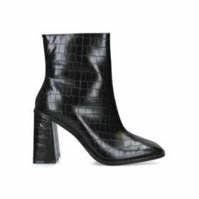 Kg Kurt Geiger Tabbi - Black Croc Print Flared Heel Ankle Boots