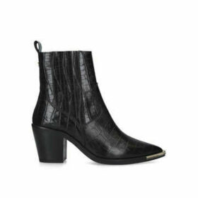 Kg Kurt Geiger Tiami - Black Croc Print Western Style Ankle Boots