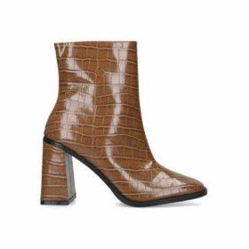Kg Kurt Geiger Tabbi - Brown Croc Print Flared Heel Ankle Boots