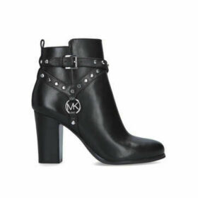 Michael Michael Kors Preston Bootie - Black Block Heeled Ankle Boot With Silver Hardware
