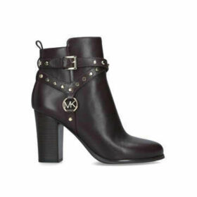 Michael Michael Kors Preston Bootie - Burgundy Block Heeled Ankle Boot With Gold Hardware