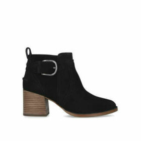 Ugg Leahy - Black Suede Ankle Boot With Contrast Block Heel