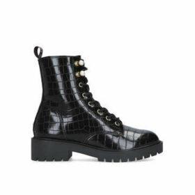 KG Kurt Geiger Tilly - Black Croc Print Biker Boots