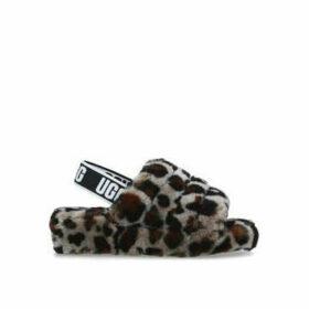 Ugg Fluff Yeah Slide - Leopard Print Shearling Open Toe Sliders