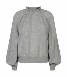 Cashmere Ruffle Neck Sweater