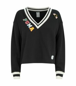 x Sue Tsai Cropped V-Neck Sweatshirt