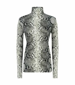 Snakeskin Print Turtleneck Sweater