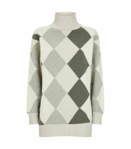Graphic Argyle Rollneck Sweater
