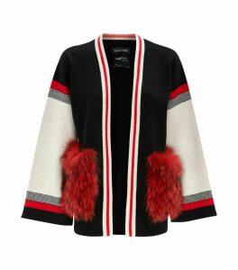 Wool-Cashmere Fox Fur Cardigan