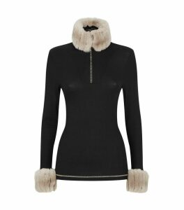 Faux Fur-Trim Thermal Top
