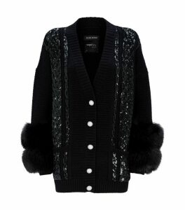 Embellished Wool Fox Fur Cardigan