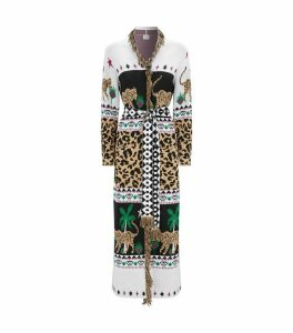 Knitted Cotton Longline Leopard Cardigan