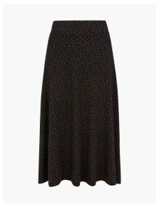 M&S Collection Polka Dot Jersey Slip Midi Skirt