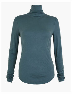 Per Una Ribbed Turtle Neck Long Sleeve Top