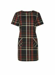 Womens Black And Rust Check Print Tunic Top - Multi Colour, Multi Colour