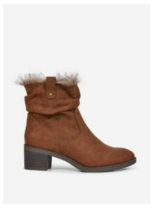 Womens Tan 'Moscow' Faux Fur Boots- Brown, Brown