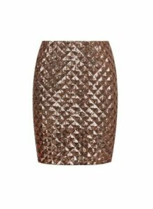 Womens Bronze Diamond Sequin Skirt - Black, Black