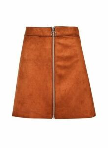 Womens Only Rust Faux Suede Skirt - Red, Red
