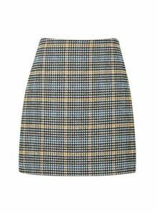 Womens Blue And Yellow Check Print Mini Skirt - Multi Colour, Multi Colour