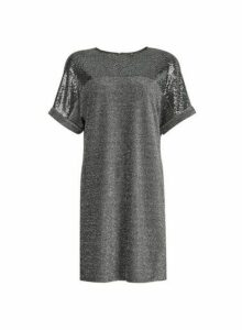 Womens Silver Sequin Shift Dress, Silver