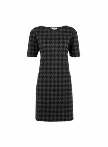 Womens **Tall Grey Dogtooth Checked Shift Dress, Grey